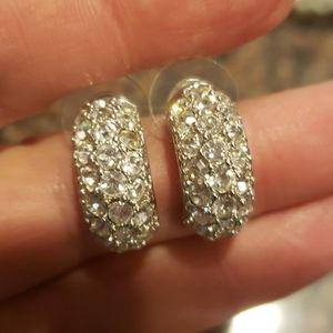 Kenneth Jay Lane Silvertone & CZ Pierced Earrings